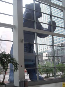 The Big Blue Bear, view from inside the Denver Convention Center.